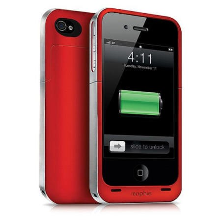 Mophie Juice Pack Air Case and Rechargeable Battery for iPhone 44S Red