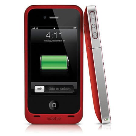 Mophie Juice Pack Air Case and Rechargeable Battery for iPhone 4/4S - Red