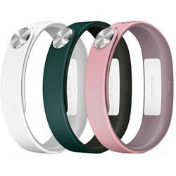 Sony Mobile Large A1 SmartBand Wrist Straps -  Dark Green/Light Pink/White