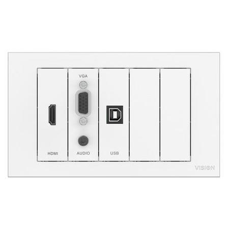 VISION TECHCONNECT FACEPLATE KIT - MODULE PACK WITH 10M CABLE PACK Includes MOUNTING HARDWARE_ UK Double-Gang Backbox UK Double-Gang Surround. Includes MODULES_ 1 x VGA with 3.5mm