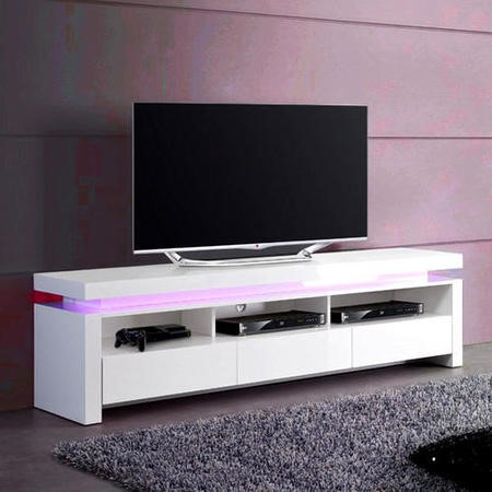 FOL300307_E Evoque LED TV Unit in White High Gloss with 3 Touch Open Drawers