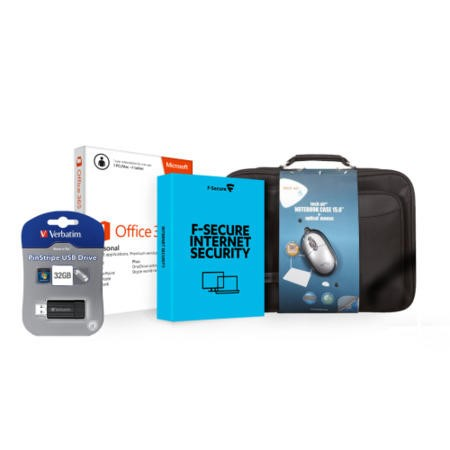 Premium Bundle Office 365 Personal Tech Air Bag & Mouse 32GB USB Stick 1Yr F-Secure Internet Secuirty