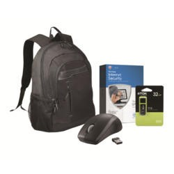 "Back to School Essential Bundle 15.6"" Bag Mouse 32GB Flash Drive and 1Yr McAfee Internet Security"