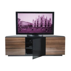 GRADE A2 - Light cosmetic damage - UKCF Milan Gloss Walnut Corner TV Cabinet - Up to 55 Inch