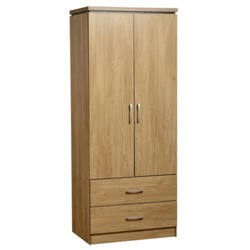 Seconique Charles 2 Door 2 Drawer Wardrobe in Oak