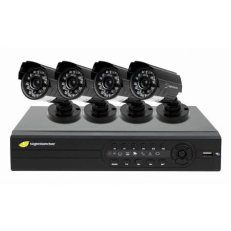 GRADE A1 - As new but box opened - Night Watch NightWatcher NW4D1-520-4B 4 Channel 500GB Plug and Play CCTV System Kit with 4 x 520 TVL Cameras