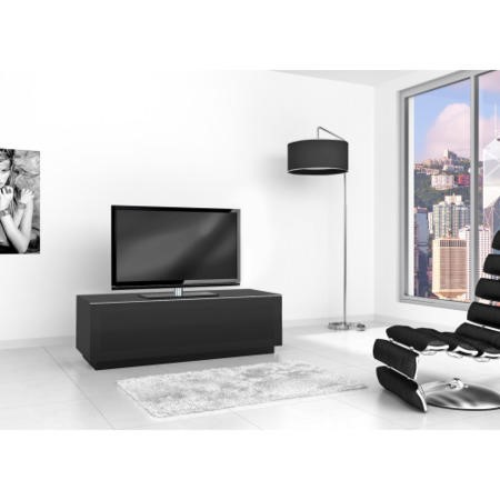 GRADE A2 - Light cosmetic damage - Elmob Large Black TV Cabinet - Up to 60 Inch