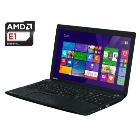 "A2 Refurbished Toshiba Satellite Pro C50D-A-146 Black - AMD E1-2100 1GHz 4GB DDR3 16GB  500GB 15.6"" HD LED Win8.1 64Bit NO-OD AMD Radeon HD 8210 webcam BT 4.0 1xUSB 3.0 HDMI 1YR"