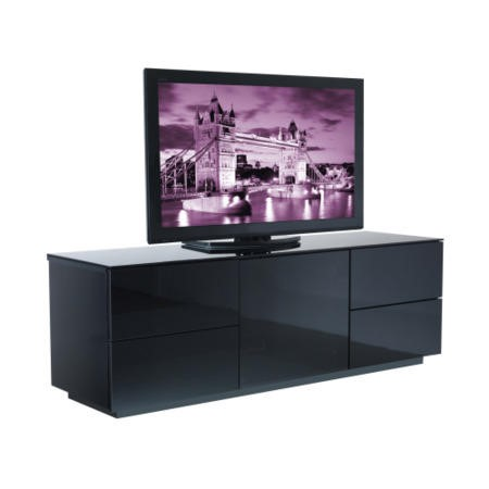 GRADE A3 - Heavy cosmetic damage - UKCF London Gloss Black TV Cabinet - Up to 60 Inch