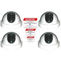 4 x White Dome Dummy CCTV Camera and sticker pack