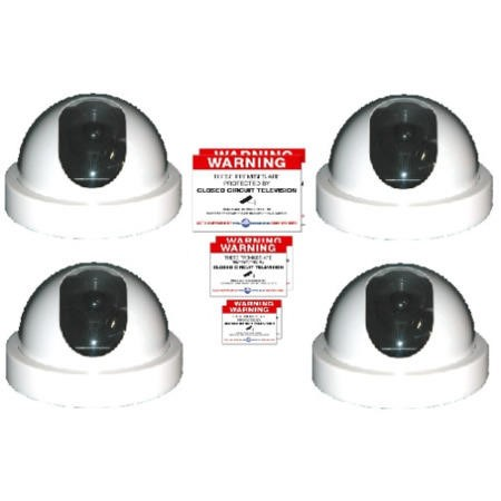 4 x White Dome Dummy CCTV Camera and Warning Sticker pack