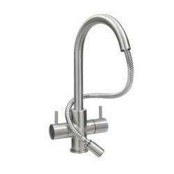 Astracast TP0789 Shannon Twin Lever Single Flow Tap with Pull-out in Brushed Steel
