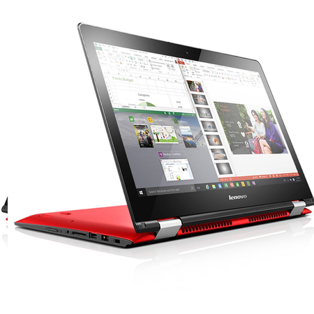 "Refurbished Lenovo Yoga 500 Core i5 6200U 2.3GHz 8GB 1TB + 8GB Hybrid Dedicated 2GB GT 920M Graphics 14"" Touchscreen Windows 10 Laptop Red"