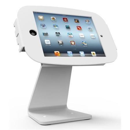 Maclocks Table kiosk 360' rotate and tilt with iPad Mini Space Enclosure WHITE. Fits all iPad mini