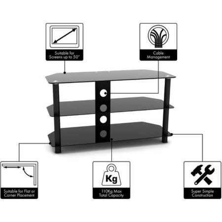 "Techlink D80B Dais TV Stand for up to 50"" TVs - Black"