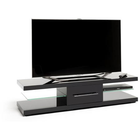 Techlink Echo XL EC150B Gloss Black with Clear Glass two 'floating' glass shelves and central drawer cable management 1500mm wide suitable for screens up to 75 Inch