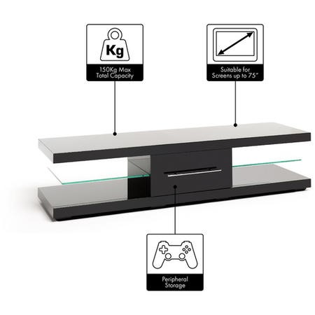 Techlink EC150B Echo XL Black TV Stand