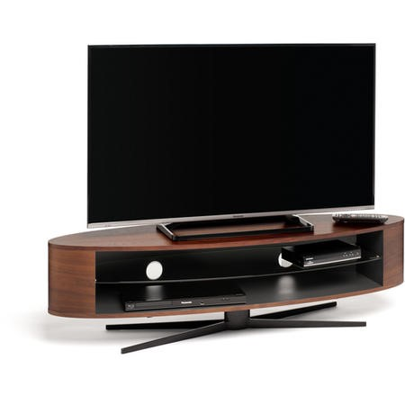 Techlink Ellipse EL140WSG Walnut & Satin Grey Stand slim profile with two wide shelves to accommodate soundbars 1400mm wide suitable for screens upto 70""