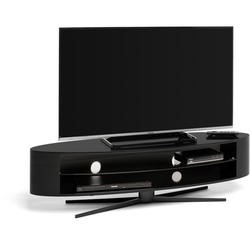 Techlink Ellipse EL140B Gloss Black Stand slim profile with two wide shelves to accommodate soundbars 1400mm wide suitable for screens upto 70""