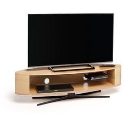 Techlink Ellipse EL140LO Light Oak Stand slim profile with two wide shelves to accommodate soundbars 1400mm wide suitable for screens upto 70""