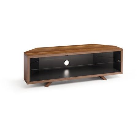 Techlink Dual Corner DL115WSG Walnut on the outside of the carcass and Satin Grey on the inside a central glass shelf cable management 1150mm wide suitable for screens up to 55""