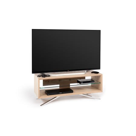Techlink Arena AA110L Light Oak Carcass with Chrome pedestal base clear glass shelf cable management 1100mm wide suitable for screens up to 55""