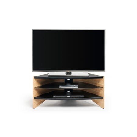 Techlink Riva Corner RV100LO Light Oak Veneer Black Glass shelves cable management 995mm wide suitable for screens up to 50""