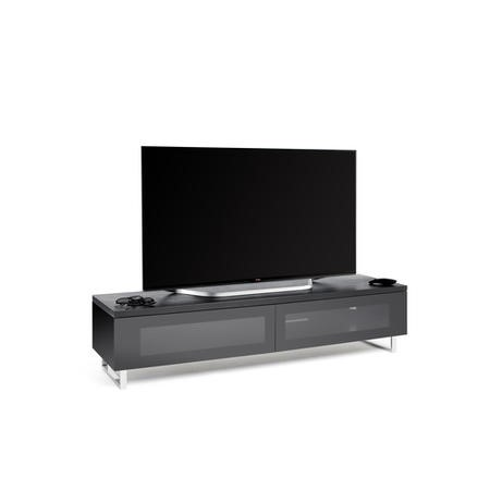 Techlink Panorama PM160B Black Oak Top with Black Carcass Low Cabinet with IR Friendly Drop Down Doors ventilated cable management 1600mm wide suitable for screens up to 80""