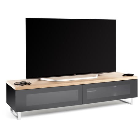 Techlink Panorama PM160LO Light Oak Top with Black Carcass Low Cabinet with IR Friendly Drop Down Doors ventilated cable management 1600mm wide suitable for screens up to 80""