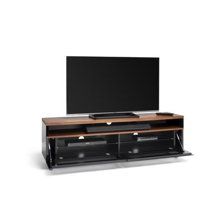 Techlink Panorama PM160W+ Walnut Top with Black Carcass Extended Height to hold a soundbar with IR Friendly Drop Down Doors venitlated cable management 1600mm wide suitable for screens up to 80""