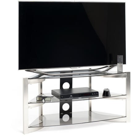 Techlink Skala SK100TC Three Smoked Glass Shelf Corner TV Unit with Curved Brushed Titanium Sides cable management 1000mm wide suitable for screens up to 50""