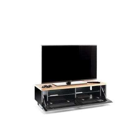 Techlink Panorama PM120LO Light Oak Top with Black Carcass Low Cabinet with IR Friendly Drop Down Doors ventilated cable management 1200mm wide suitable for screens up to 60""