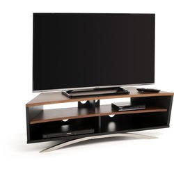 Techlink Prisma PR130SBW Satin Black Base and Side with a Walnut  Top and Shelf cable management 1300mm wide suitable for screens up to 65""