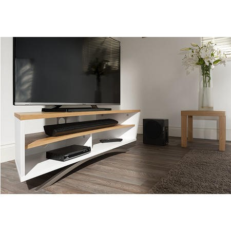 Techlink Prisma PR130SWLO Satin White Base and Side with a Light Oak Top and Shelf cable management 1300mm wide suitable for screens up to 65""
