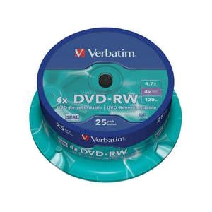 43489 Verbatim 25PK 4.7GB 4X DVDRW Spindle