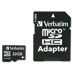 Verbatim 32GB MicroSDHC Memory Card Class 4 with Adaptor