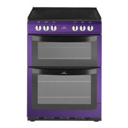 New World NW601EDO 60cm Wide Double Oven Electric Cooker In Metallic Purple