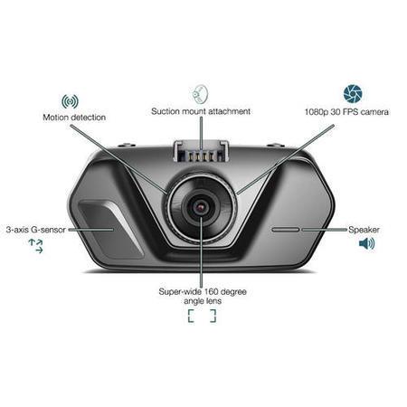 electriQ 1080p Wide 160 Degree Angle View Dash Cam with 2 ...