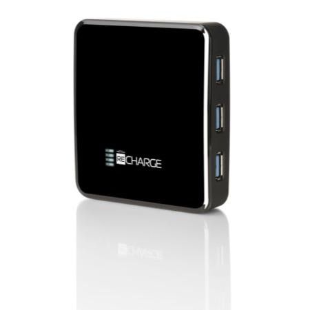 Recharge 6000 - 6000 mAh Rechargeable Battery device with 4 port USB 3.0 Hub