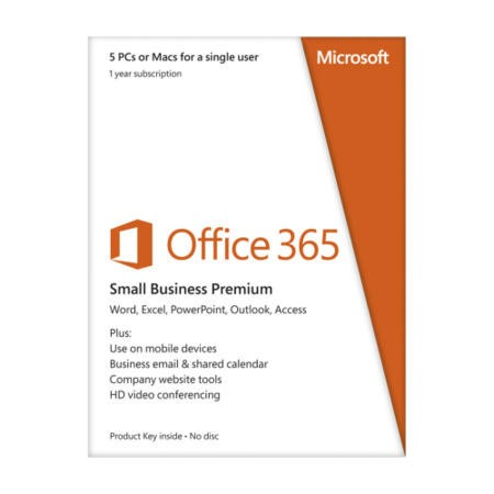 Microsoft Office 365 Small Business Premium 32 and 64 bit English 1 Year Subscription for 1 User 5 PC