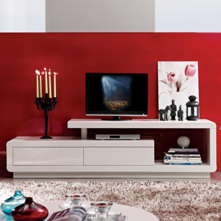 FOL300303_E Evoque Geometric TV Unit in White High Gloss with Touch Open Drawers