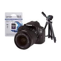 Canon EOS 100D DSLR Camera + EF-S 18-55mm IS Lens + 16GB SD Card + Desktop Tripod