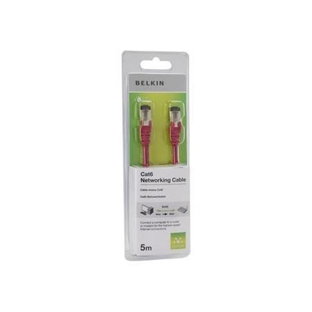 Belkin 5M Cat6 Snagless Patch Cable RJ45M-RJ45M - Red