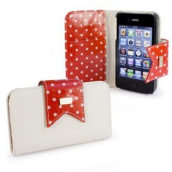 TLC Polka-Hot faux leather purse for Apple iPhone 4S / 4 / 4G - red / white - Free Screen Protector