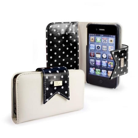 Polka-Hot faux leather purse for Apple iPhone 4S / 4 / 4G - Black/White - Free Screen Protector