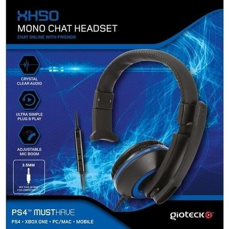 Gioteck XH-50 Mono Chat Headset in Blue & Black - Multi Platform