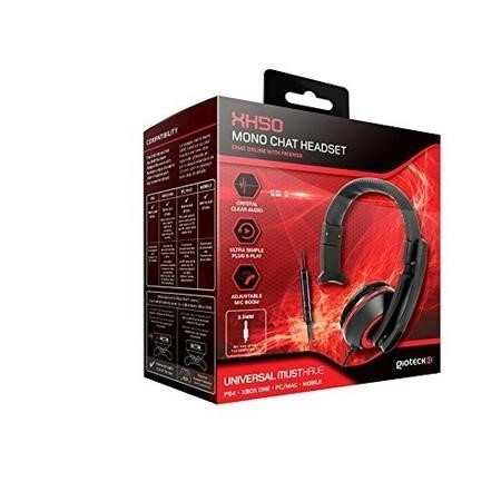 Gioteck XH-50 Mono Chat Headset in Red & Black - Multi Platform
