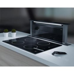 Elica ANDANTE_BL Andante Stainless Steel and Black Glass 90cm Wide Downdraft Extractor
