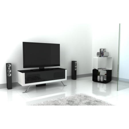 Elmob Arcadia Closed White TV Cabinet - Up to 50 Inch