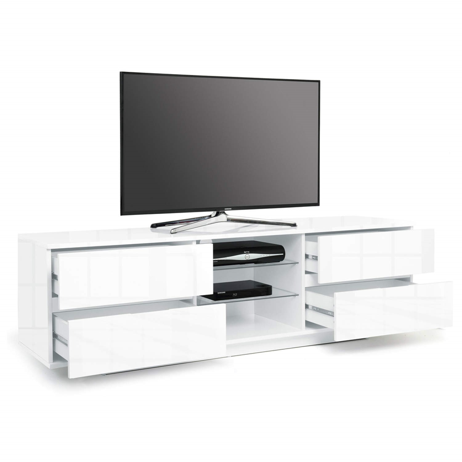 Mda Designs Avitus Tv Cabinet In White High Gloss Up To 65 Inch Laptops Direct